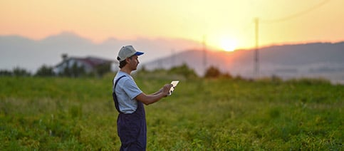 Man standing in a field using his phone for telemedicine services.