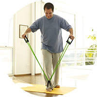 Man doing exercise focusing on his guidelines