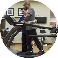 Miltary Physical Therapy Man on Treadmill Rehab
