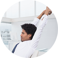 Stretching in the workplace circle image