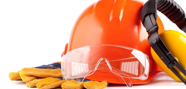 Red hard hat and orange safety headphones