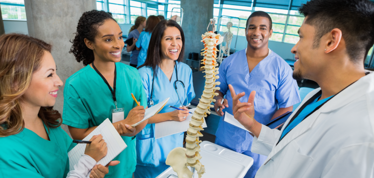 Medical students around a spine model taking notes.