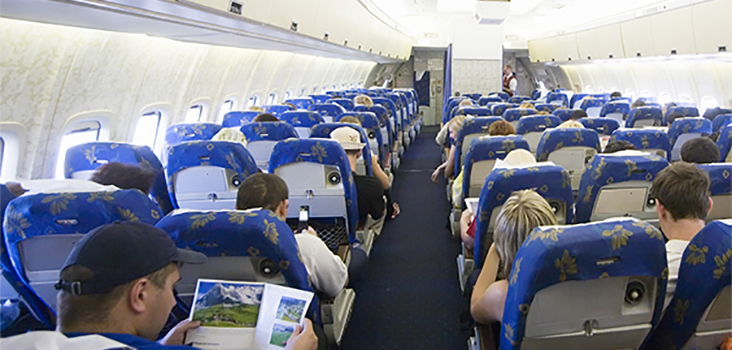 View of passengers sitting in an airplane