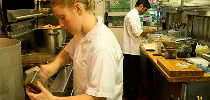 Female and male chefs cooking in kitchen
