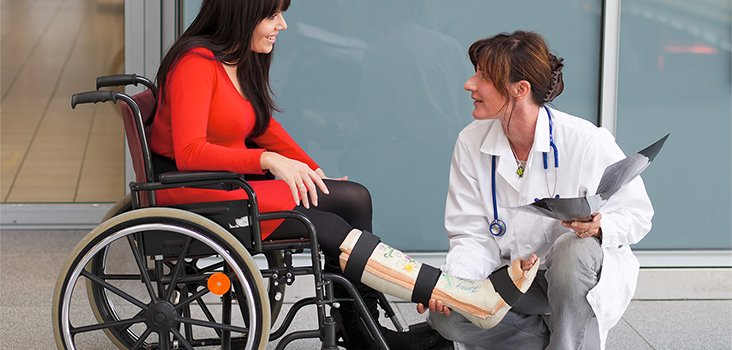Female physician assisting woman in wheelchair with leg cast
