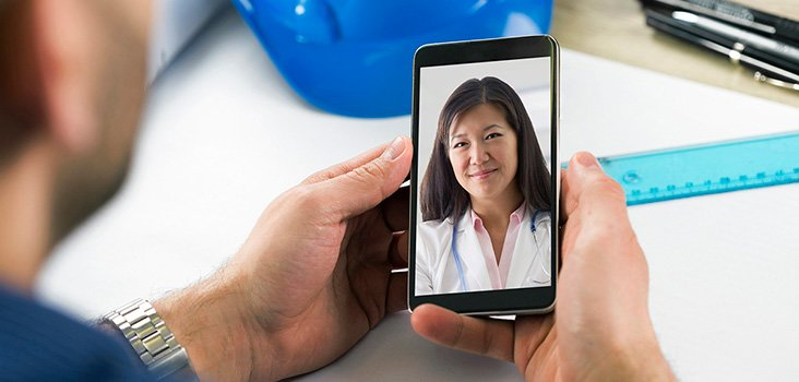Man videochats with physician over the phone