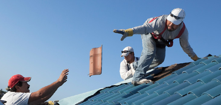 Man tossing a roof tile to another worker to fix it.