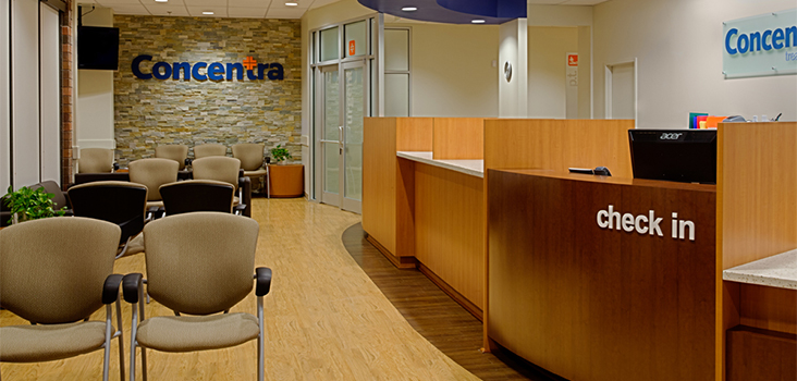 View of Concentra clinic waiting room