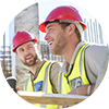 Construction Safety: Two male construction workers