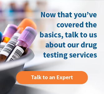 Drug testing services for employers ad showcasing pills